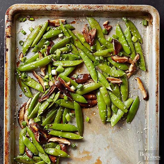Tare-Glazed Sesame Peas and Shiitakes
