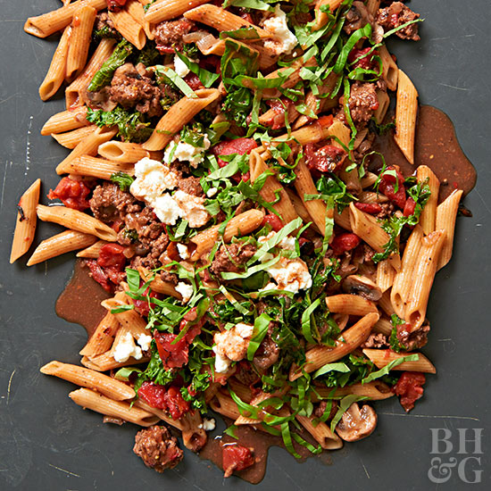 Weeknight Penne with Meaty Red Sauce and Greens