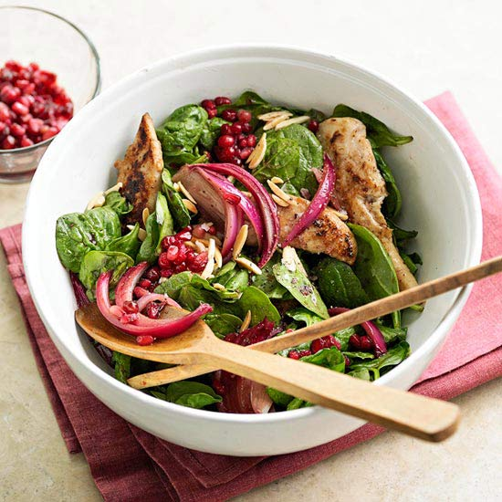 Wilted Chicken Salad with Pomegranate Dressing