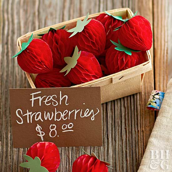 honeycomb paper strawberries in basket
