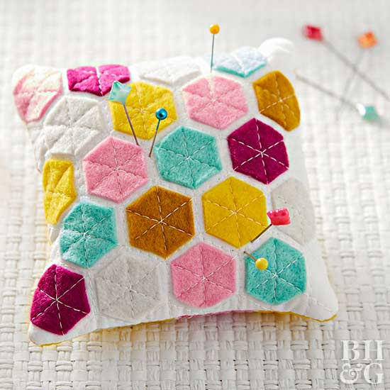 modern hexies pincushion