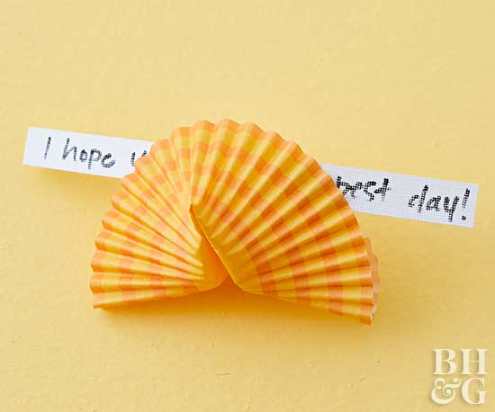 folded cupcake liner fortune cookie