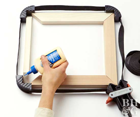 apply glue at picture frame seams