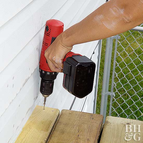 attaching wood board to deck