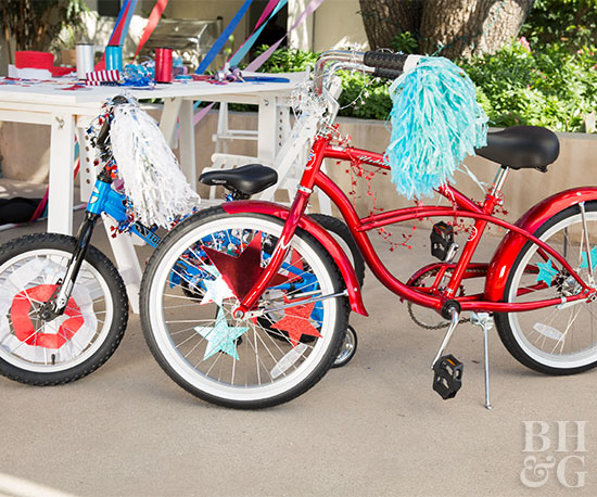 Bikes decorated for 4th of July