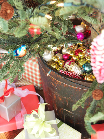 bucket with ornaments
