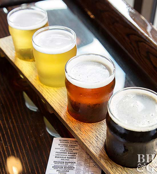 flight of beer varieties