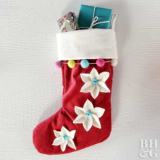 Felt Poinsettia Stocking