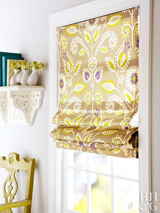 floral patterned window treatment