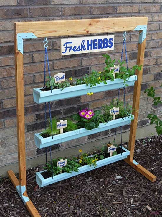 Freestanding Hanging Gutter Herb Planter