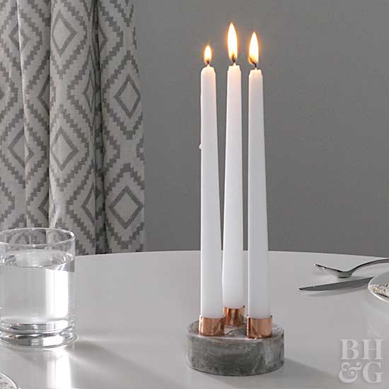 marble candle holder, candles, decor