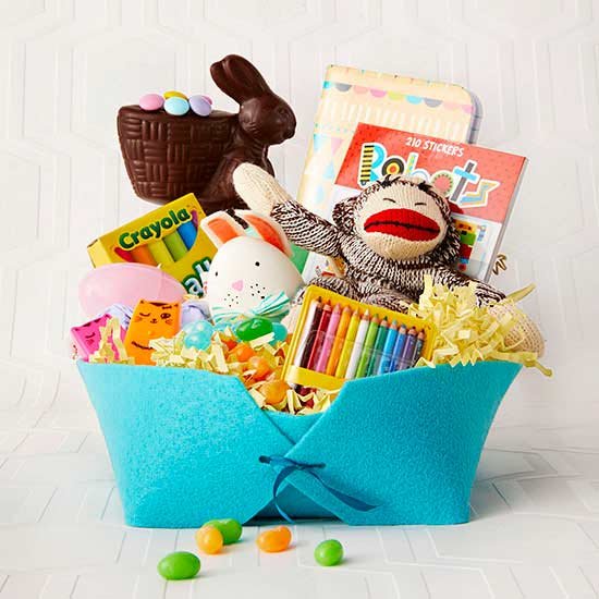 felt easter basket with goodies