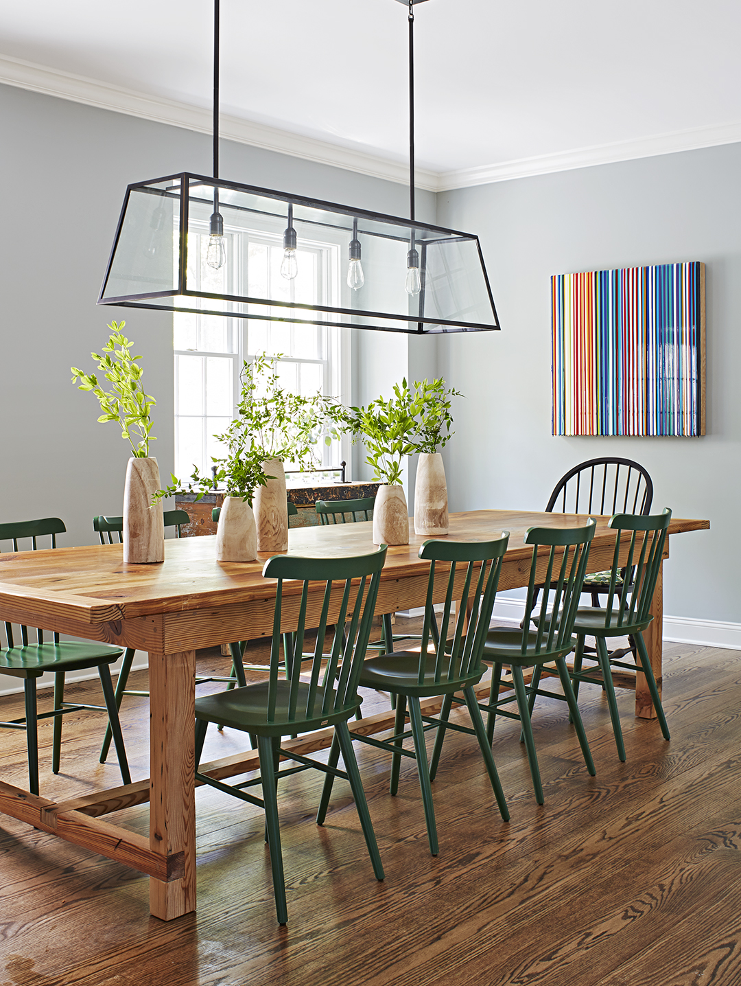 farmhouse table green chairs