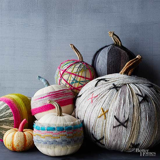 No-Carve Pumpkins Decorated with Yarn