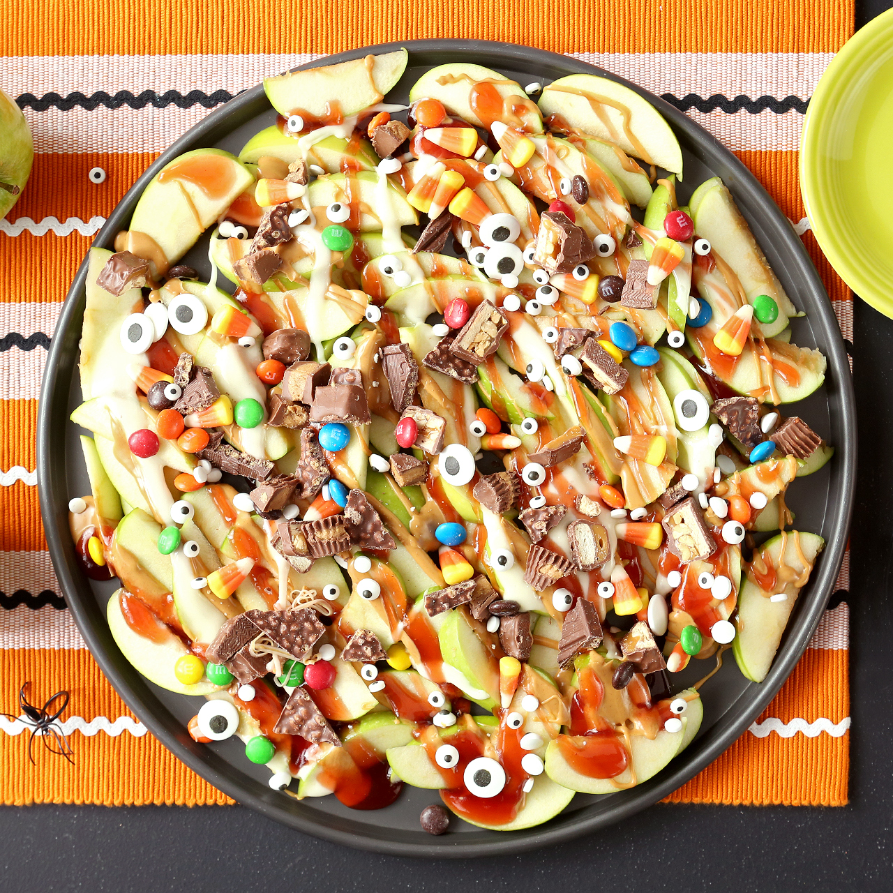 Halloween Dessert Nachos with apples and candy