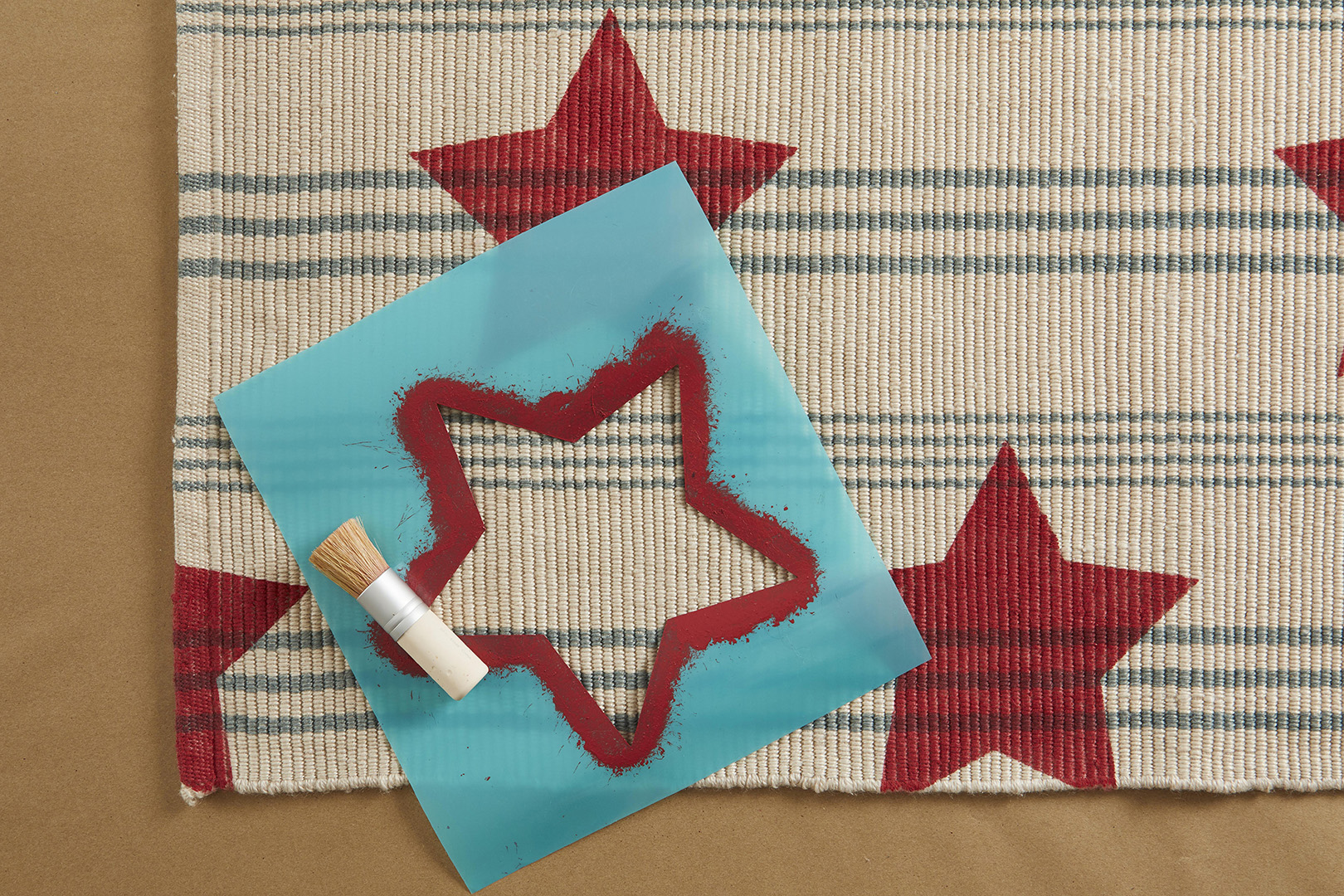 stencil for stars on welcome mat