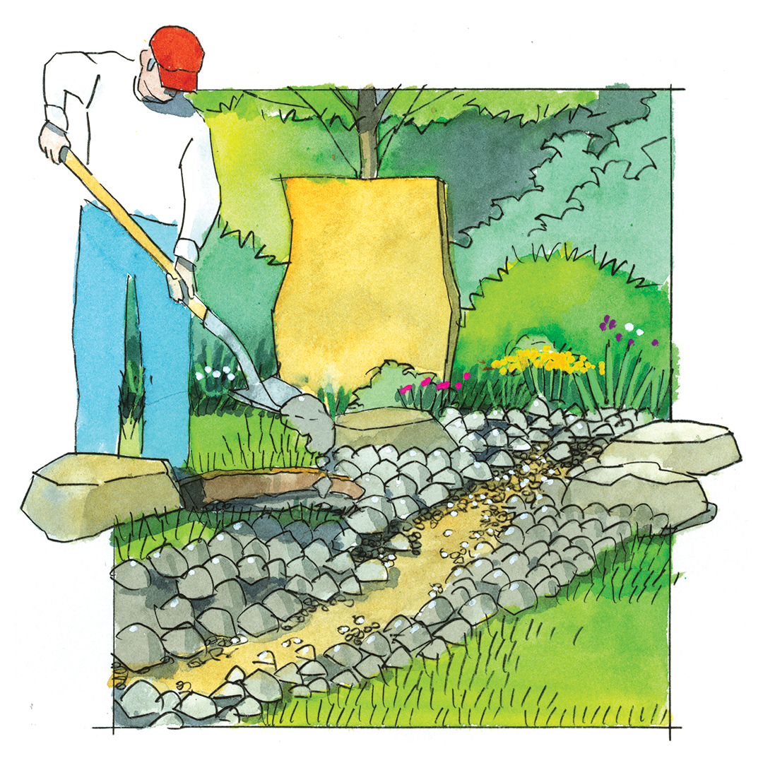 dry creek illustration how-to place concrete for stones