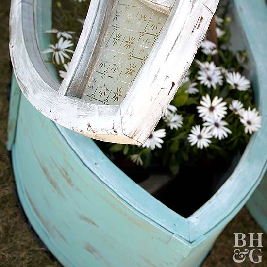 a Cold Frame made from Old Windows close up