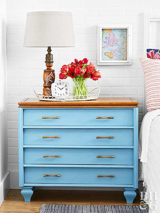 blue dresser bedside table