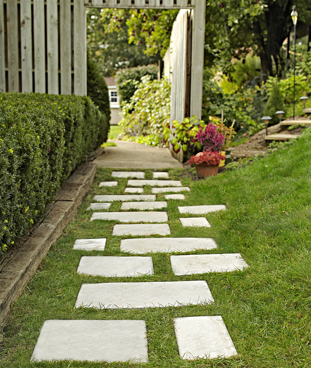 back yard paver path