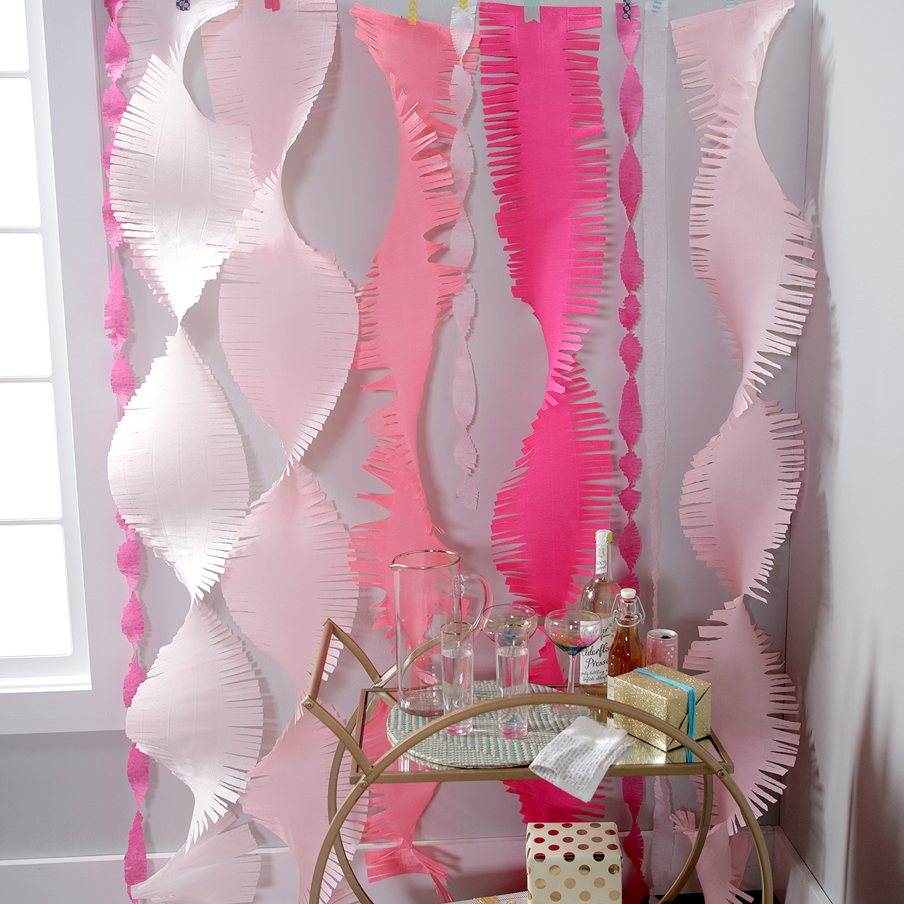 pink hanging diy party streamers video still