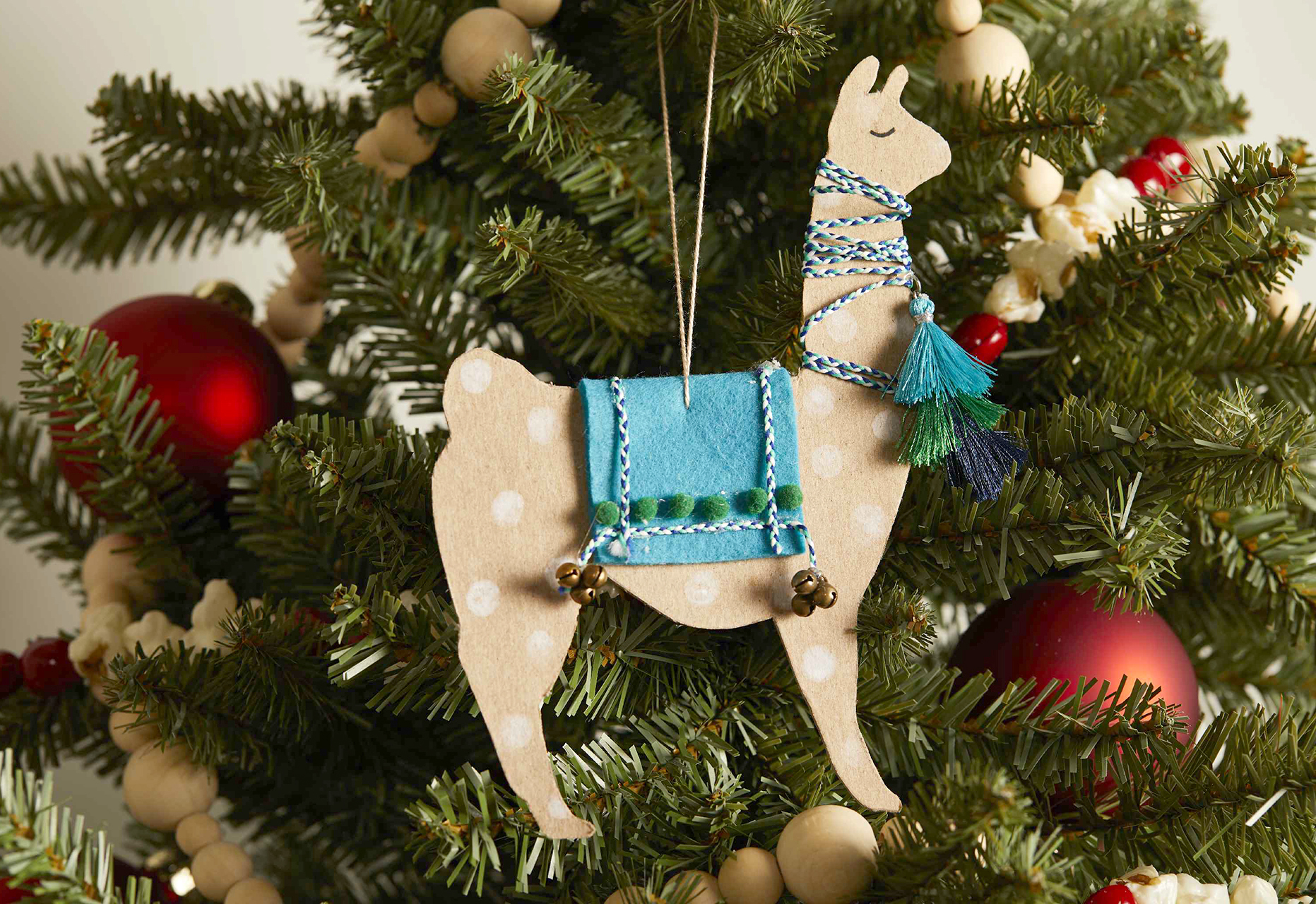 cardboard and felt painted llama handmade ornament