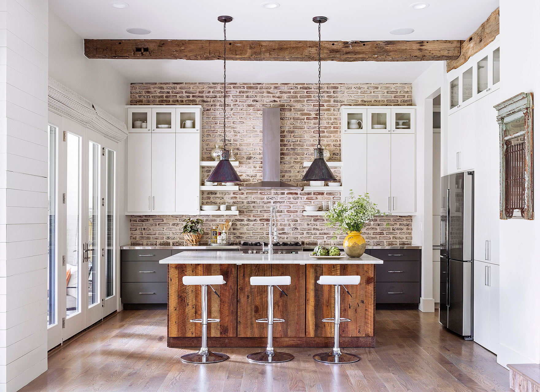 modern farmhouse kitchen with wood island
