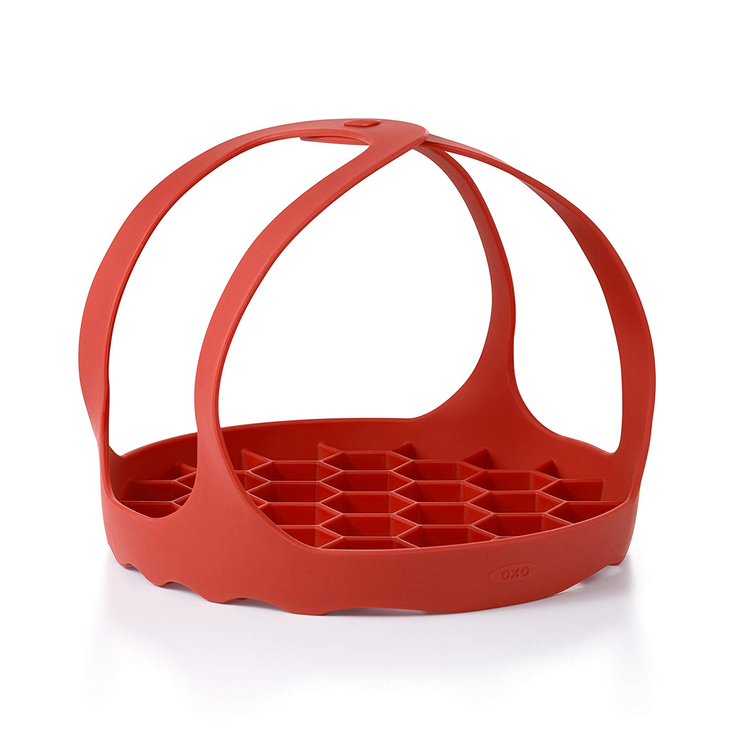 Red silicone sling for lifting bakeware out of Instant Pot