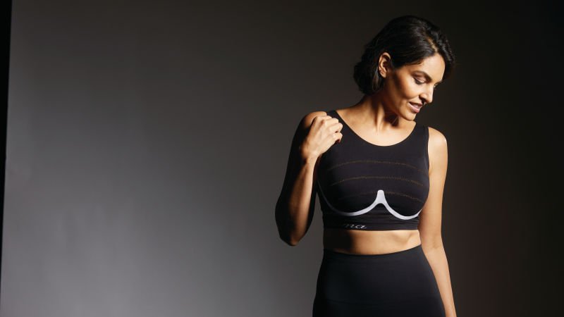 Woman wearing a black sports bra