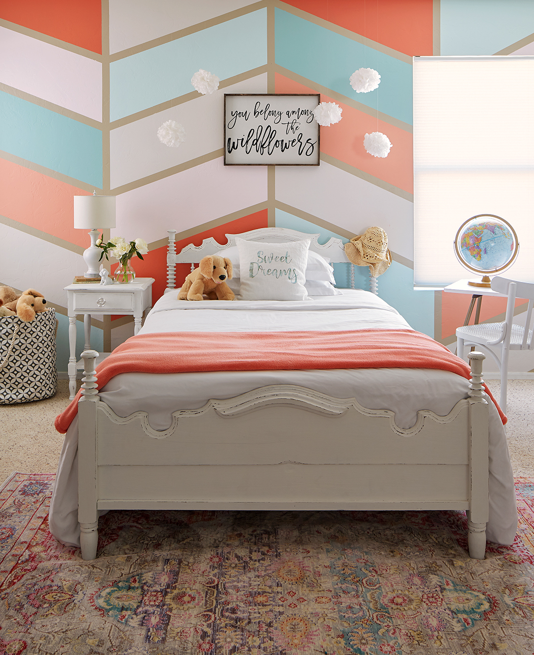 bedroom with white blue and orange paint