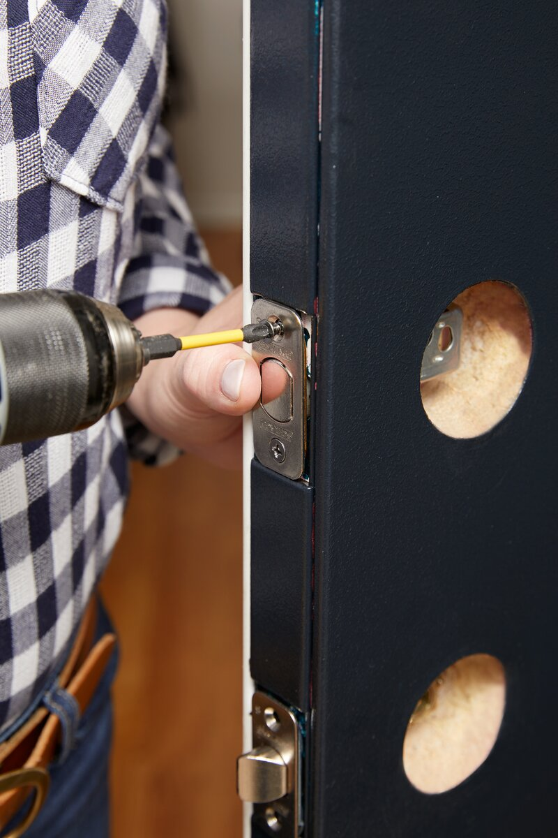 secure dead bolt hardware onto door edge