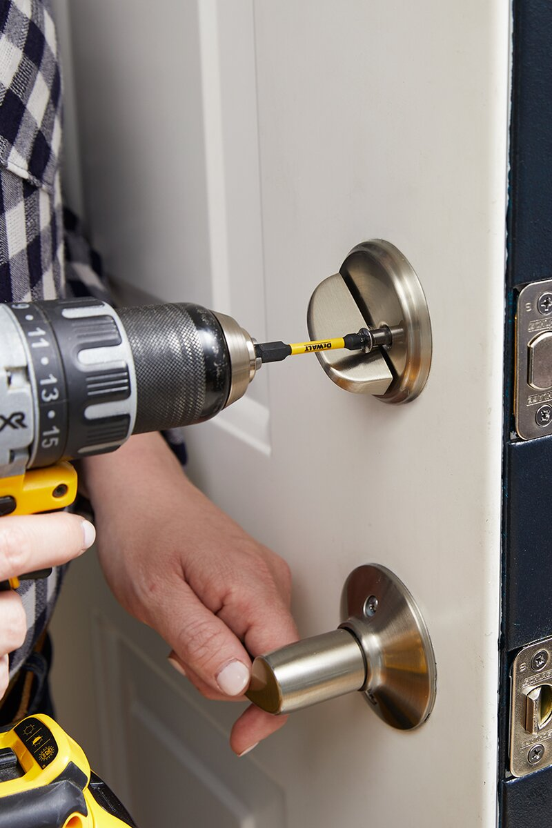 add deadbolt hardware to secure to door