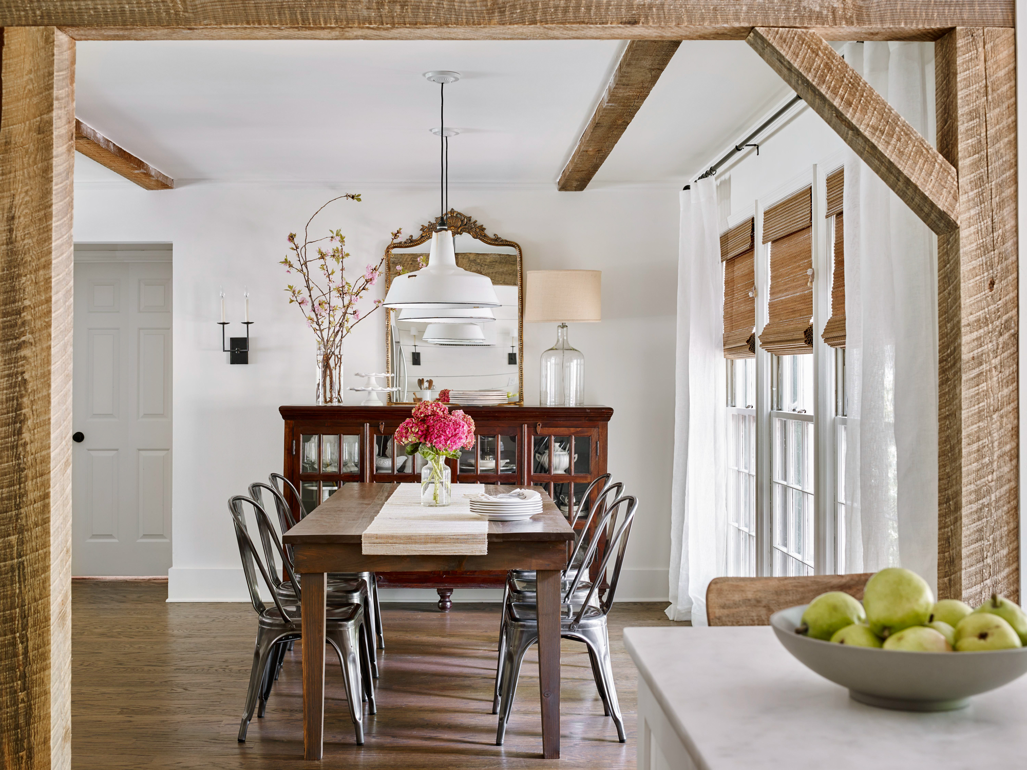 vintage contemporary kitchen dining room wooden beams