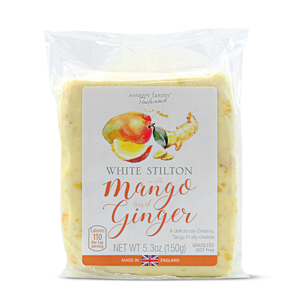 Aldi white stilton cheese with mango and ginger in packaging on white background