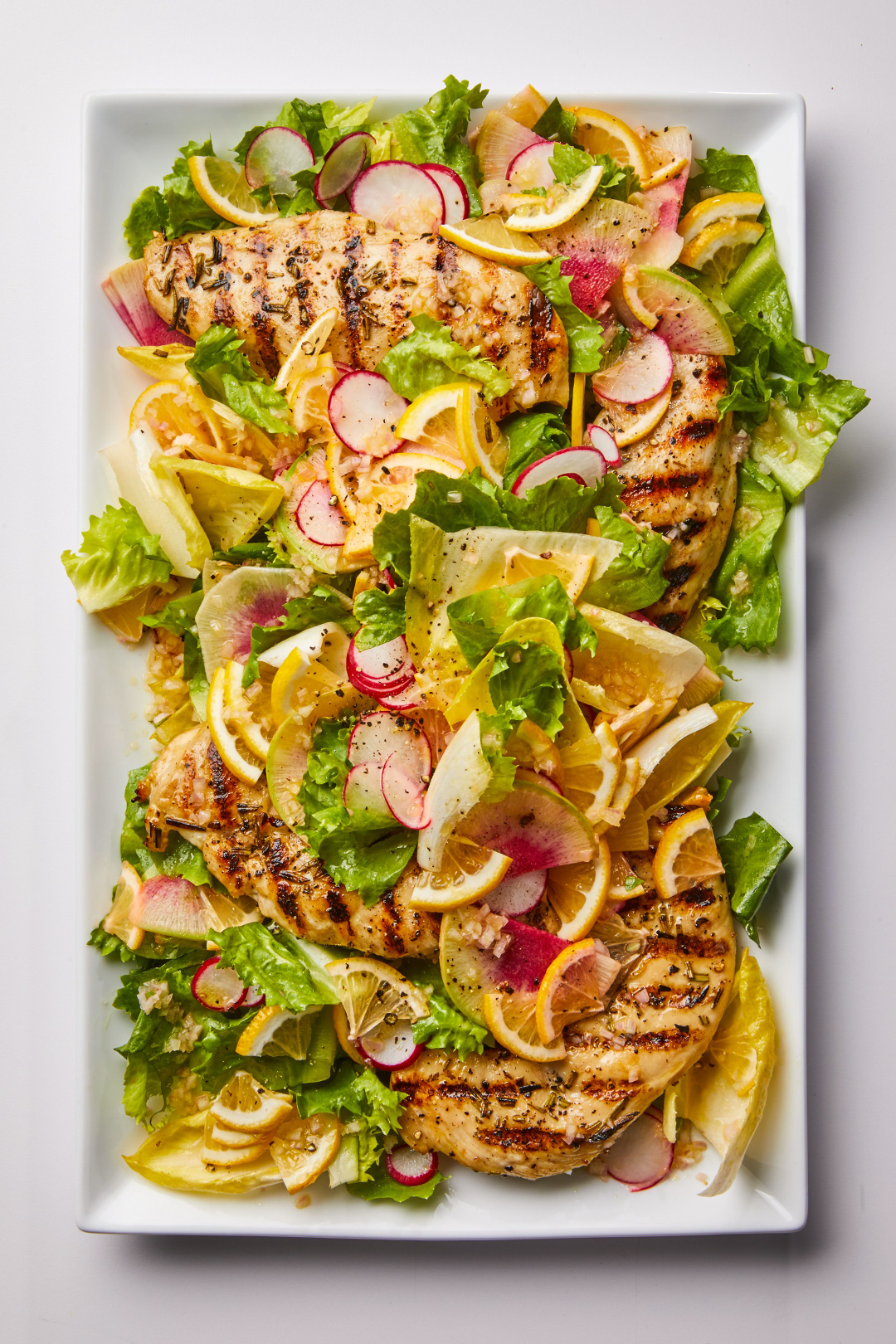 Meyer Lemon and Rosemary Chicken Salad on serving plate