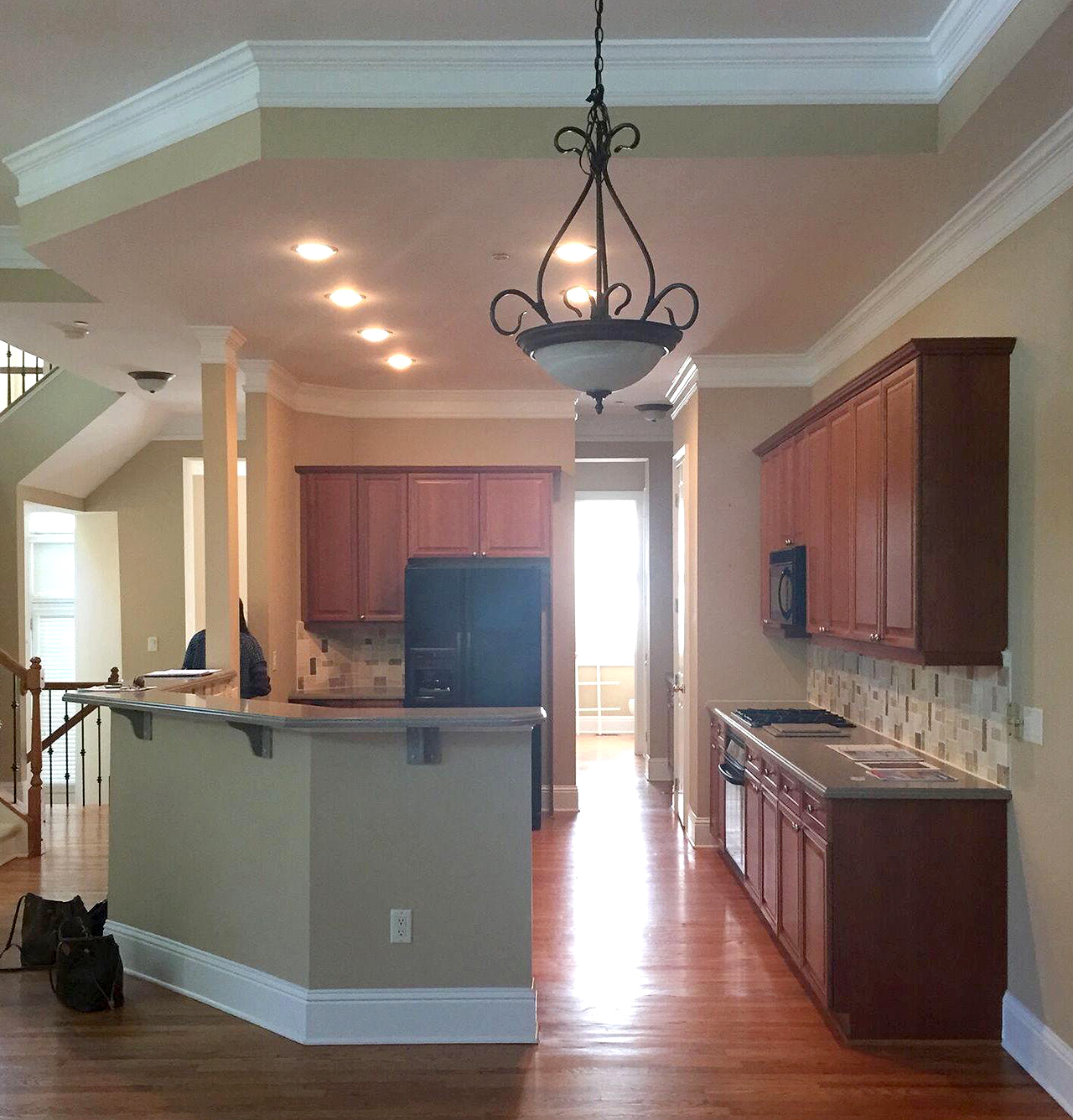 open-concept kitchen with island before shot