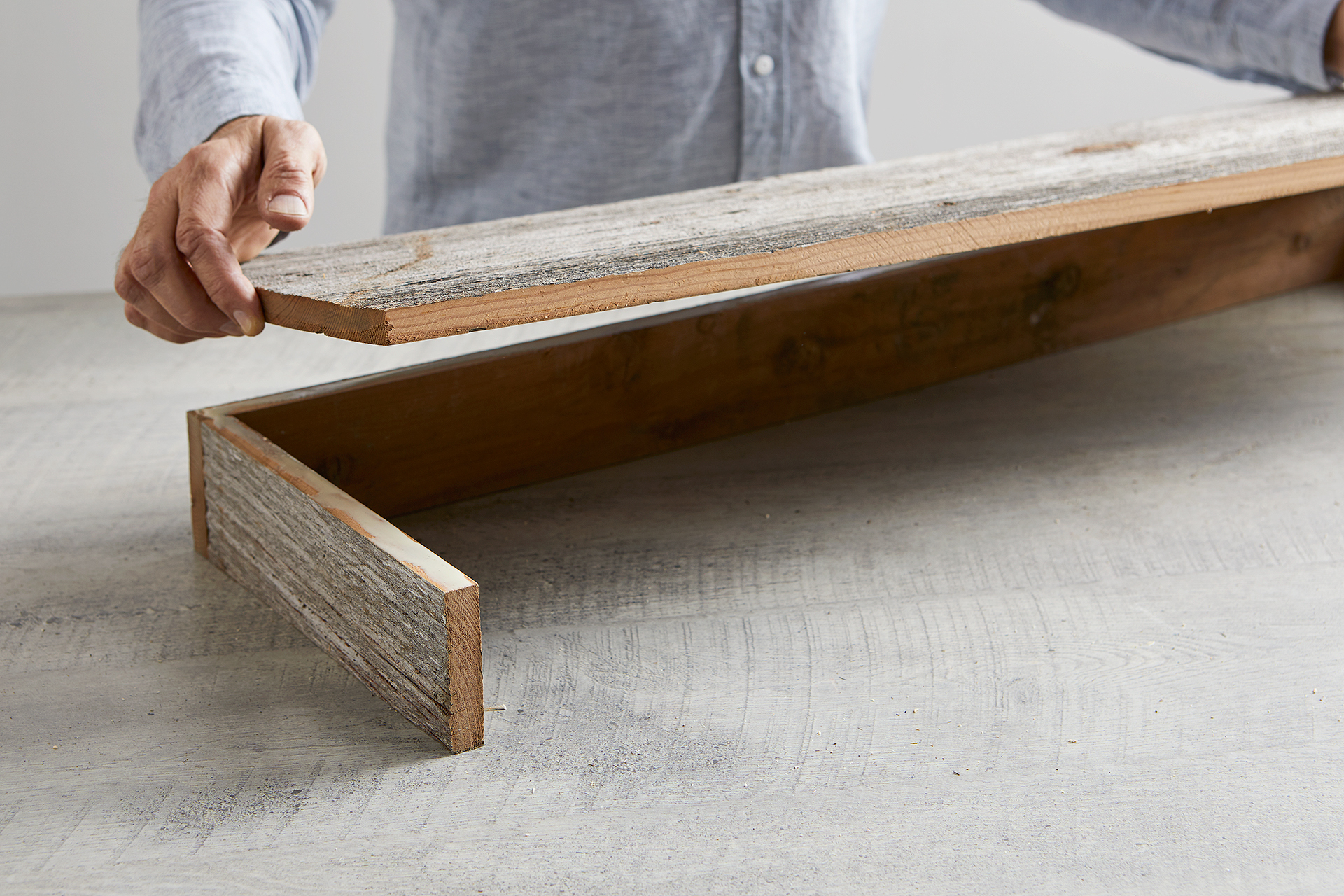 secure skirt board to farmhouse coffee table