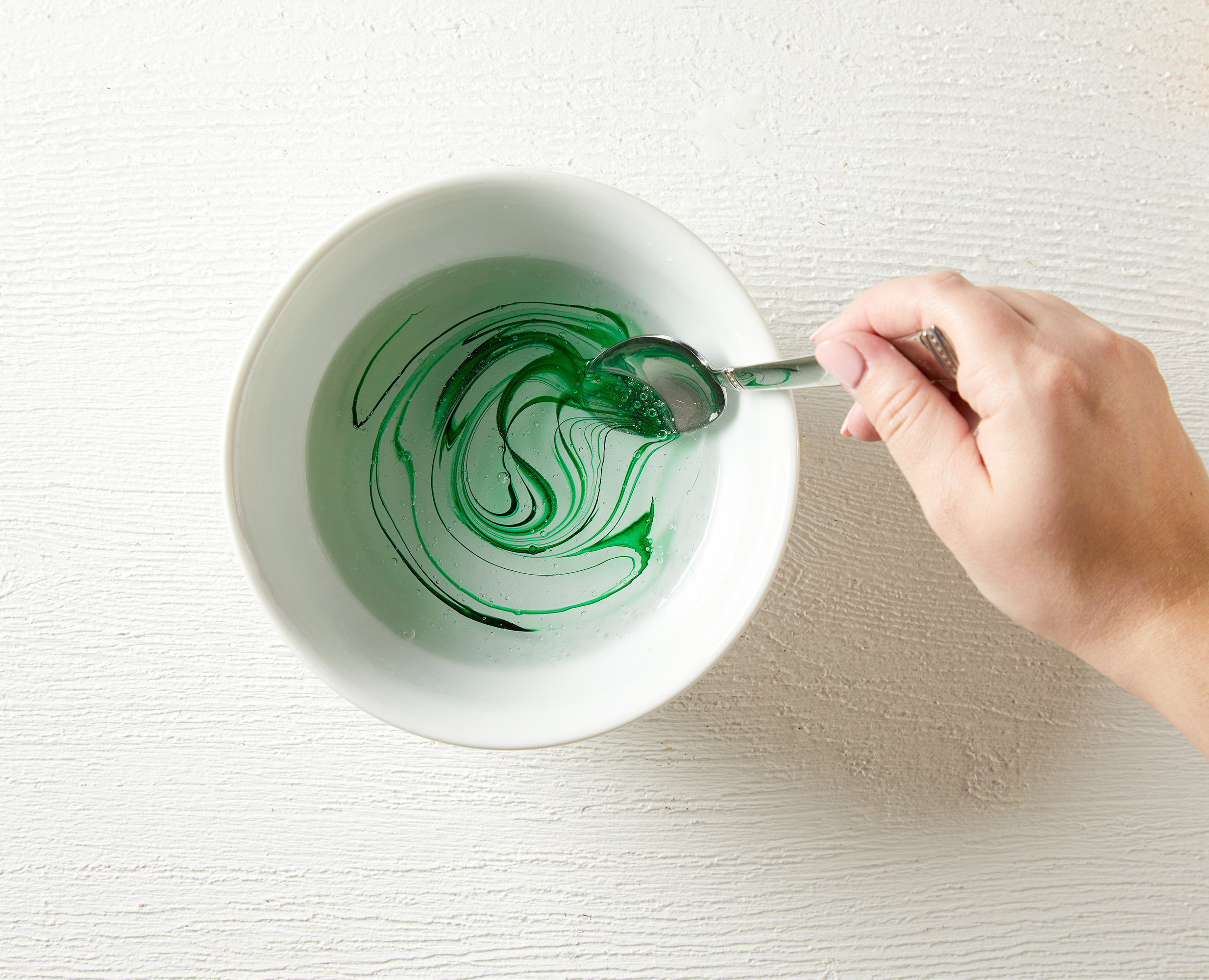 stirring in green color