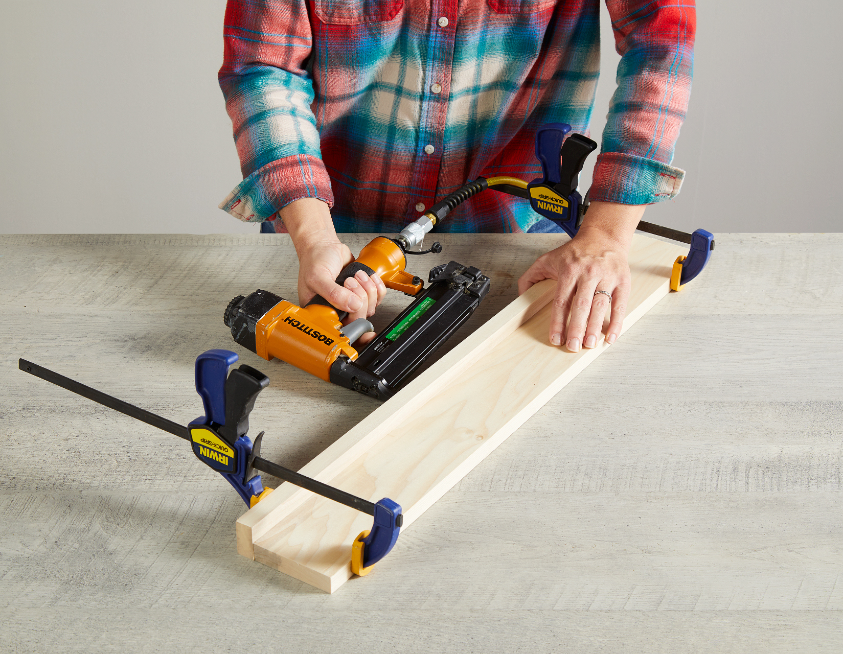 secure with clamps and nail pieces together