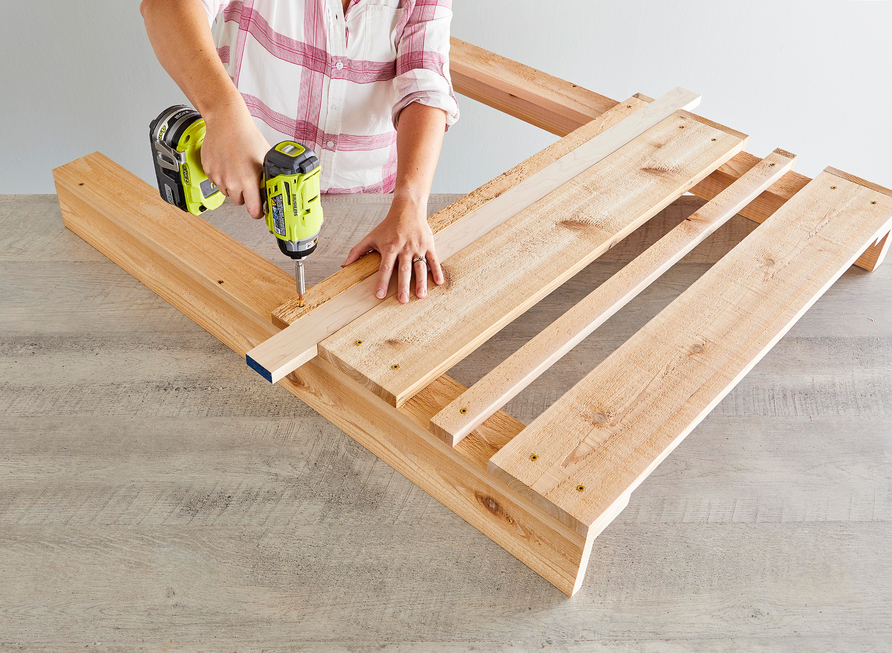 attach planks using spacer for positioning