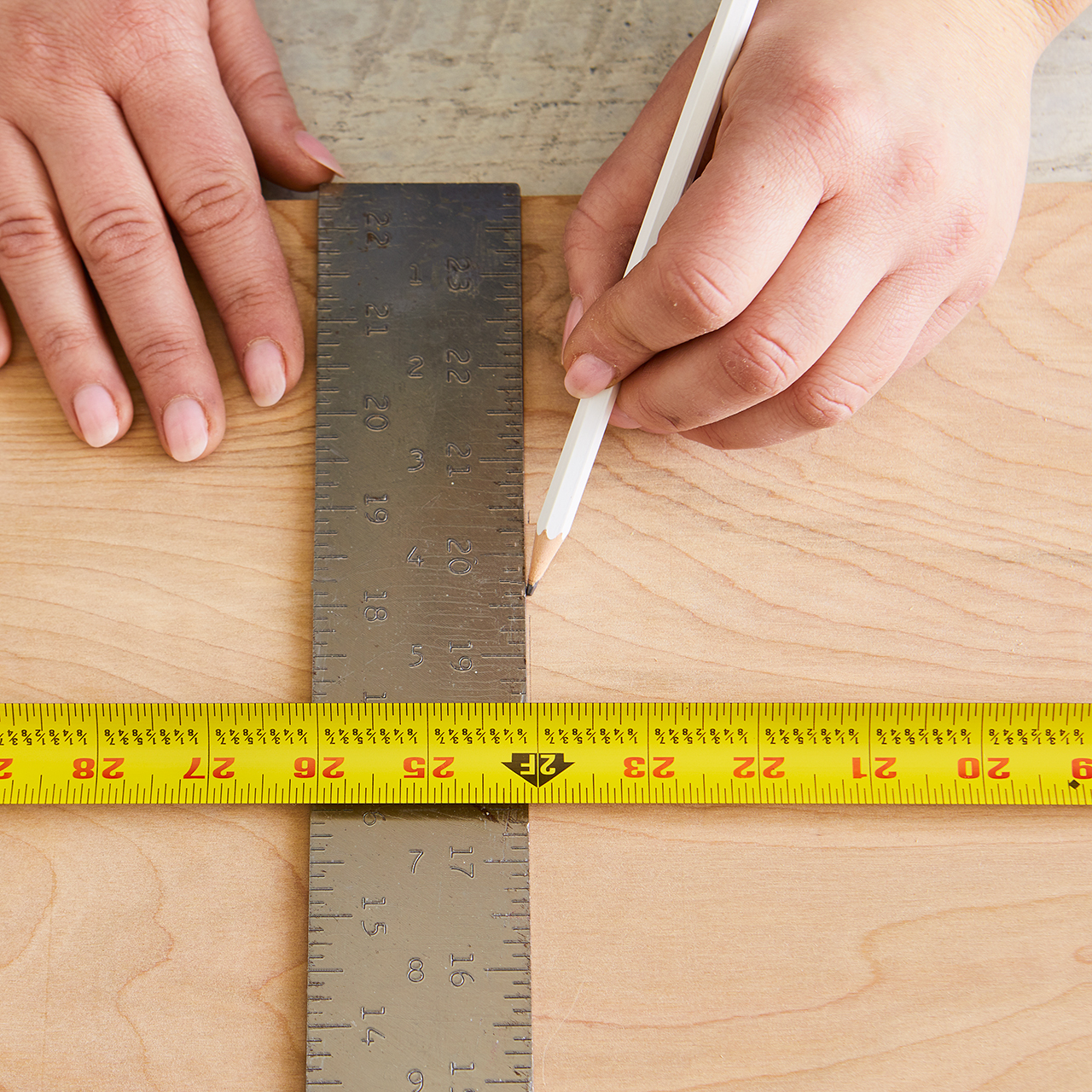 use ruler and tape measure to mark