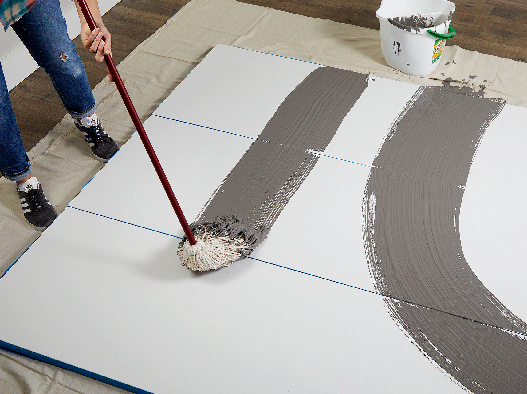 apply lighter-hued paint with mop first