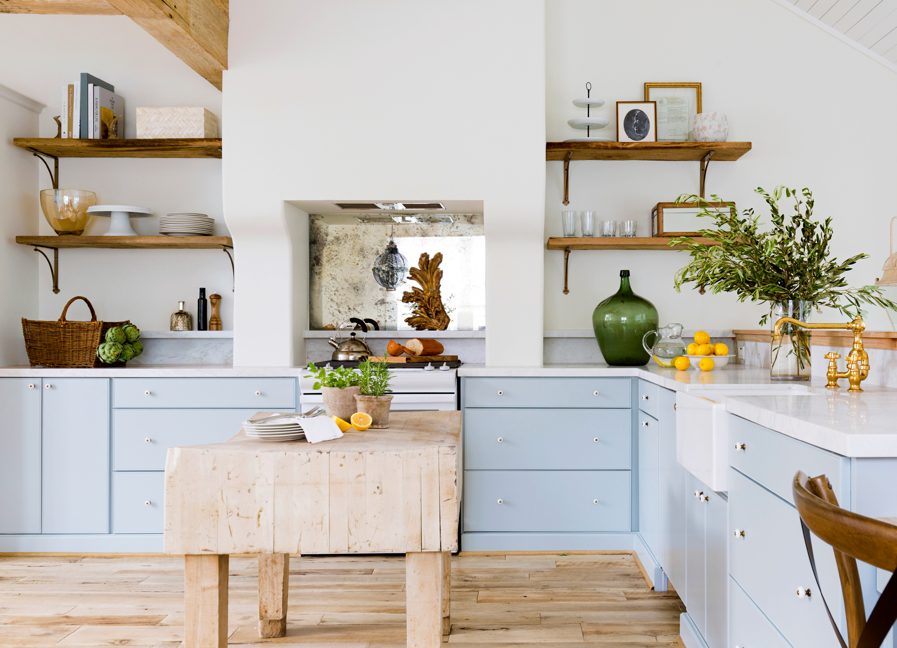 bright kitchen with powder blue lower cabinets