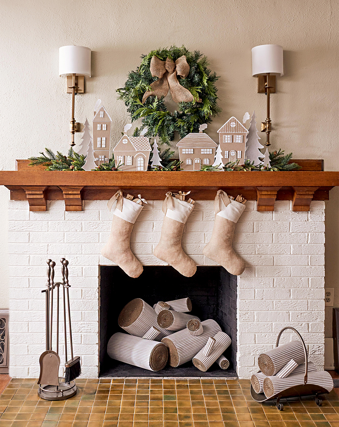 diy christmas decor with cardboard village
