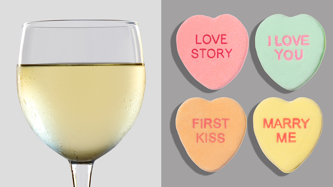 glass of sauvignon blanc and conversation hearts wine and candy pairing
