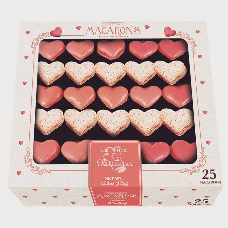 Box of pink and dark pink macarons for valentine's day
