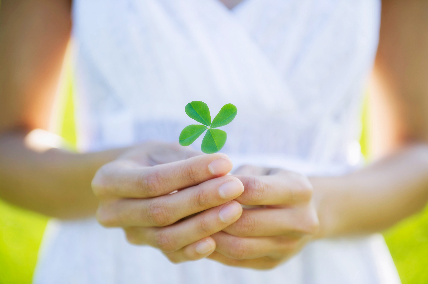 woman in white dress holding four leaf clover