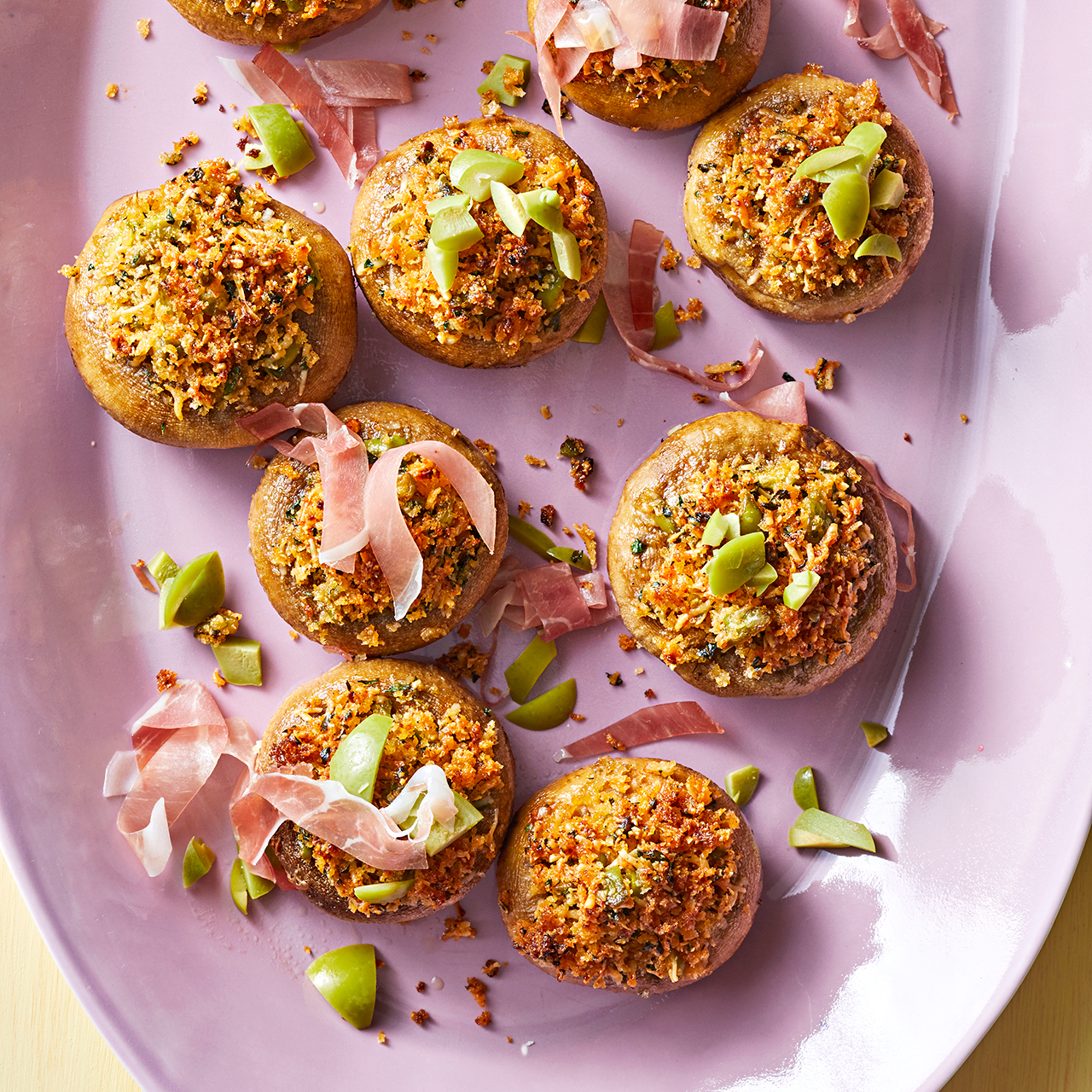 manchego cheese-stuffed mushrooms with olives