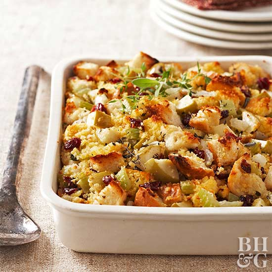 Cranberry-Apple Stuffing in a white casserole dish