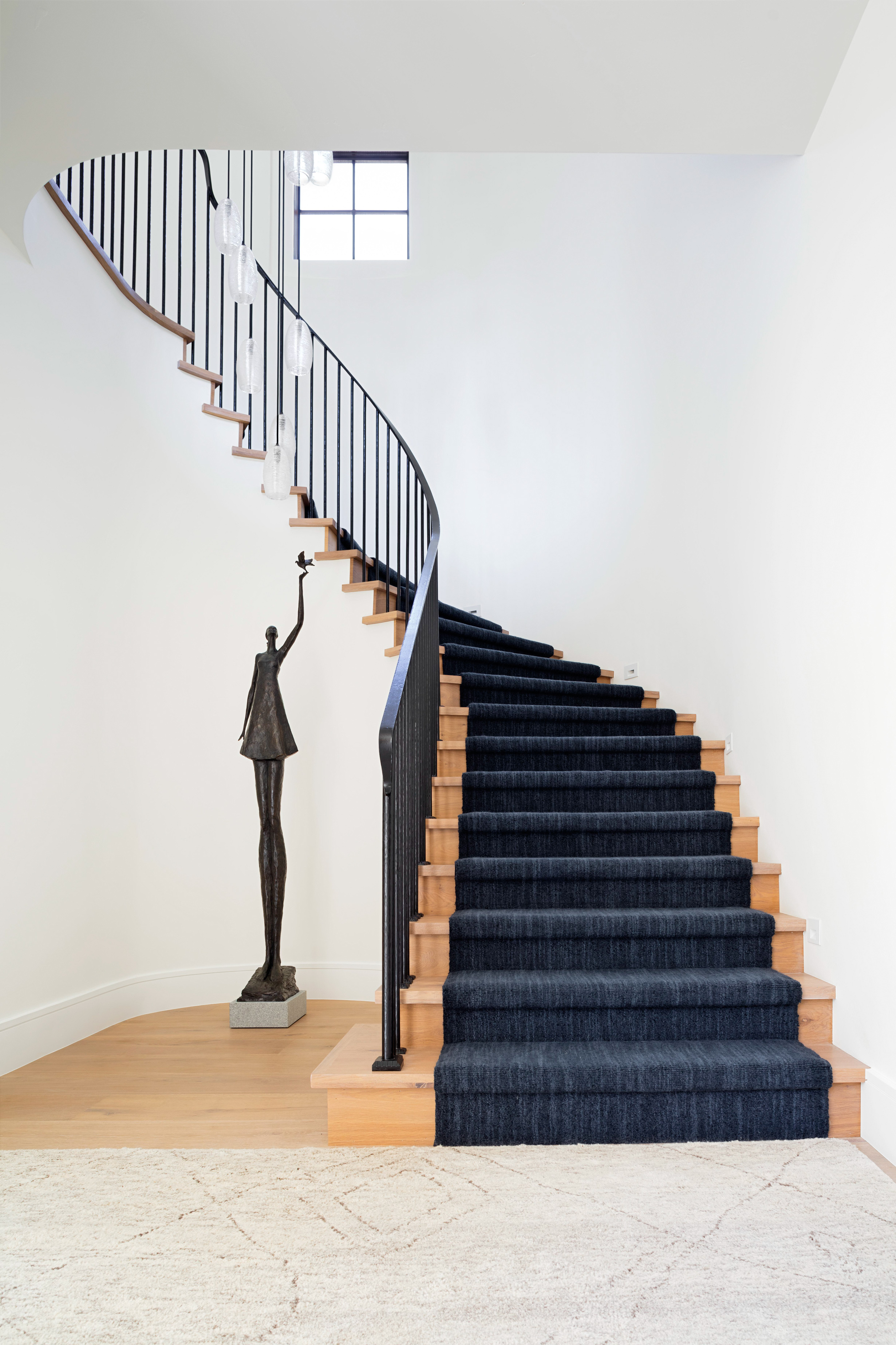 beachy home makeover staircase curved